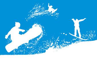 Silhouetten Skifahrer Snowboarder