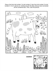 Connect the dots picture puzzle and coloring page - milk cow and cornflowers. Answer included.