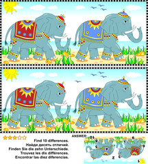 Visual puzzle: Find the ten differences between the two pictures of the elephants walking along the seashore. Answer included.