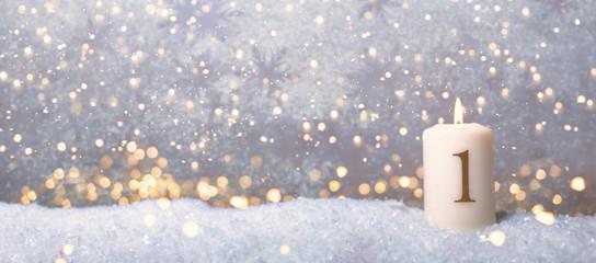 1 Advent golden Hintergrund Sonntag Kerze