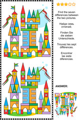 Picture puzzle: Find the seven differences between the two pictures of toy town made of colorful building blocks. Answer included.