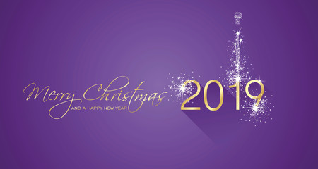 Merry Christmas beautiful calligraphy New Year 2019 firework gold white purple greeting card