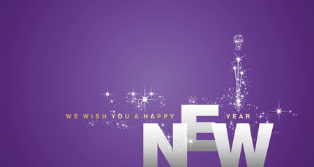We wish you a Happy New Year 2019 silver purple background