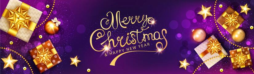 Vector horizontal Christmas illustration. Xmas gold  gifts boxes