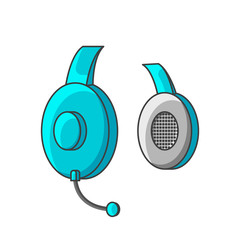 Icon turquoise headphones with a microphone. Vector illustration on white background.