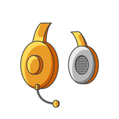 Icon yellow headphone with microphone. Vector illustration on white background.