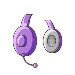 Icon purple headphone with microphone. Vector illustration on white background.