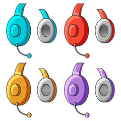 Set of colorful icons of headphones with a microphone. Vector illustration on white background.