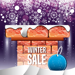 chimney with winter landscape and christmas sale