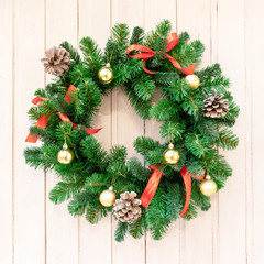 Christmas wreath for decorations on the door. Christmas background, new year, winter holiday