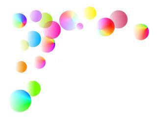 Bunte Blasen auf weißem Hintergrund