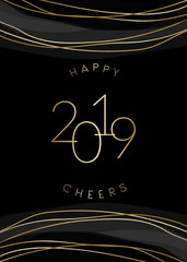 2019 New Year Greeting Card Template Design