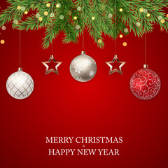Merry Christmas and New Year Background. Vector Illustration