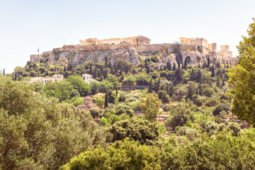 Panoramic view of the Acropolis hill in Athens, Greece