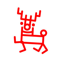 Icon in marker style cartoon deer, red illustration. Christmas decoration vector isolations