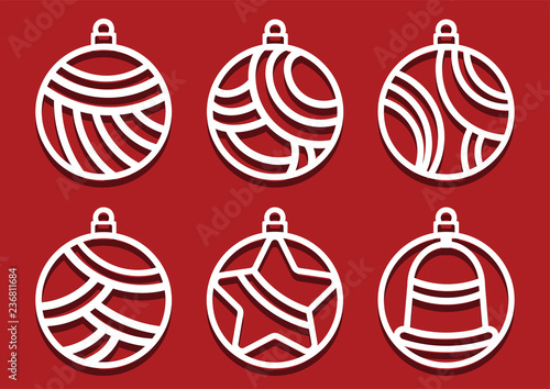 christmas balls for laser cutting new year card simple shapes