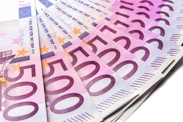 500 euro money banknotes isolated on a white background