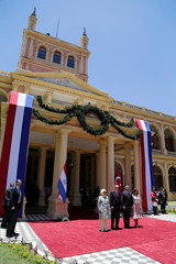 Turkish first lady Emine Erdogan, Turkish President Tayyip Erdogan, Paraguay's President Mario Abdo Benitez and his wife Silvana Abdo attend a welcoming ceremony at Presidential Palace in Asuncion