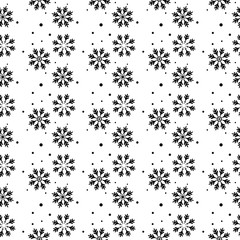 Winter seamless pattern with black snowflakes and dots on white background. New Year backdrop. Vector Christmas background for fabric, textile, wrapping paper, card, invitation, wallpaper.