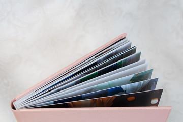 photo book with  leather cover unfolded photobook background for photo publishing sample photobook