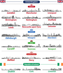 Fototapete - Cities skylines of British Isles countries: United Kingdom (England, Wales, Scotland, Northern Ireland) and Republic of Ireland. All elements separated in editable and detachable layers. Vector