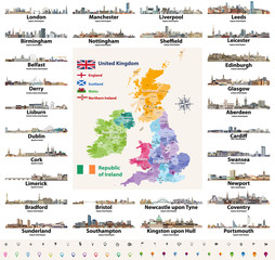 Fototapete - vector set of British Isles countries cities skylines abstract icons. Map and flags of British Isles: United Kingdom (England, Wales, Scotland, Northern Ireland) and Republic of Ireland