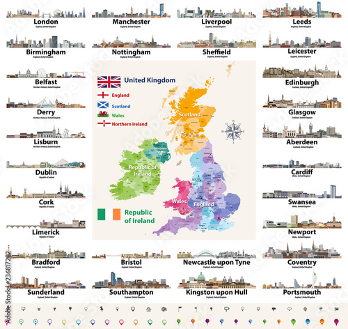 Vector Set Of British Isles Countries Cities Skylines Abstract Icons