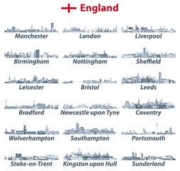 Fototapete - England largest cities vector skylines illustrations in tints of blue color palette. All elements separated in editable and detachable layers. Vector illustration