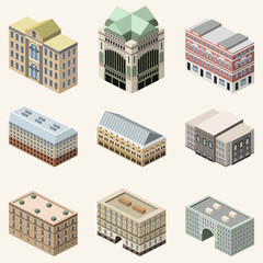 Fototapete - vector collection of 3d isometric buildings. Isolated icons set