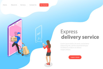 Isometric flat vector landing page template of express delivery service, courier service, goods shipping, food online ordering.
