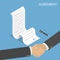 Isometric flat vector concept of agreement, handshake, contract signing.