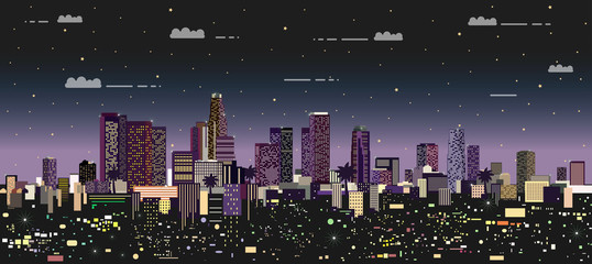 Fototapete - modern night city vector illustration