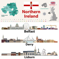 Fototapete - Northern Ireland counties map and largest cities skylines. Vector set