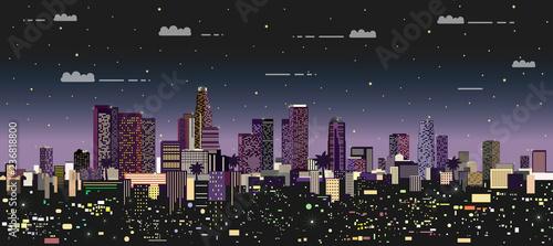 Fototapete modern night city vector illustration