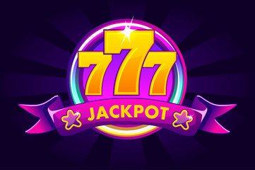 JACKPOT banner background for casino, slot icon with ribbon and 777. Vector illustration