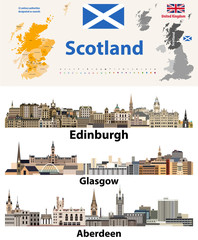 Fototapete - Scotland subdivisions (unitary authorities) map and Scottish largest cities skylines. All elements separated in editable and detachable layers. Vector illustration