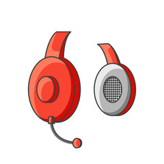 Icon red headphone with microphone. Vector illustration on white background.
