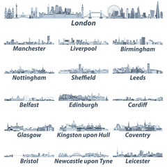 vector illustration of United Kingdom largest cities skylines in tints of blue color palette