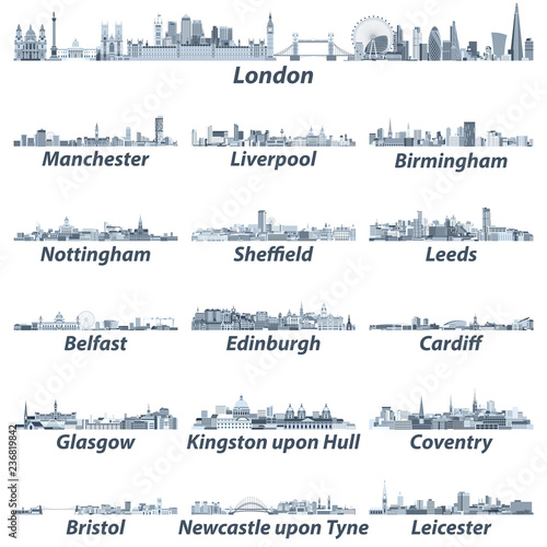 Fototapete vector illustration of United Kingdom largest cities skylines in tints of blue color palette