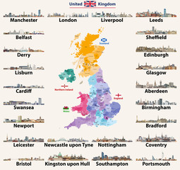 Fototapete - United Kingdom cities skylines. Detailed map of United Kingdom with countries (England, Wales, Scotland, Northern Ireland) and regions borders