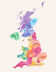 United Kingdom administrative districts high detailed vector map colored by regions with editable and labelled layers