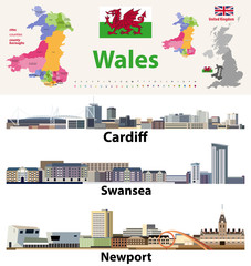 Fototapete - Wales cities, countries and country boroughs map and Welsh largest cities skylines icons. All elements separated in editable and detachable layers. Vector illustration