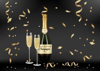 Vector Realistic green with gold label Champagne bottle, glasses with sparkling white wine on black shine background with confetti and sparkles. Happy new year and mary christmas illustration 2019
