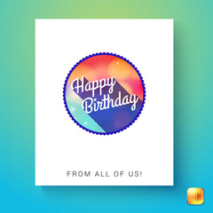 Circular badge template with happy birthday text