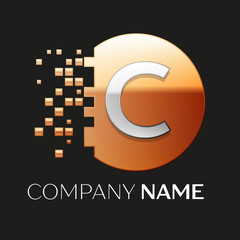 Realistic Silver Letter C logo symbol in the golden colorful pixel circle shape with shattered blocks on black background. Vector template for your design