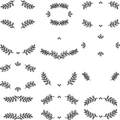 Simple set of rustic design elements. Floral vector frames for greeting cards