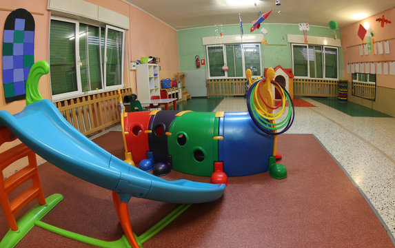 inside a kindergarten with many toys