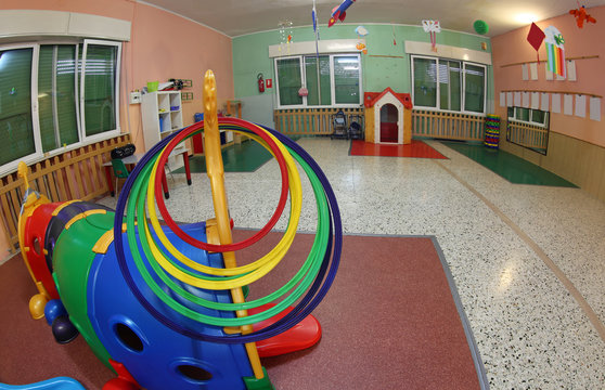 hall of a kindergarten with toys