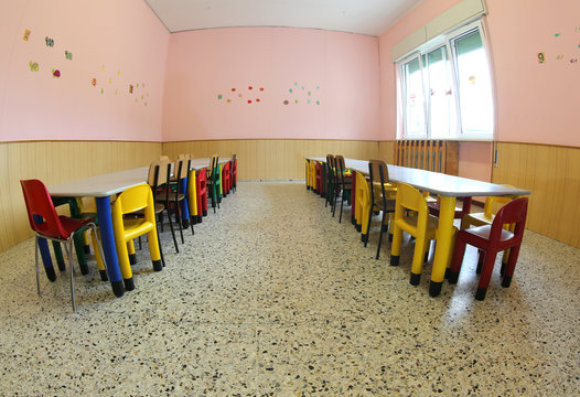 seats and tables in the classroom