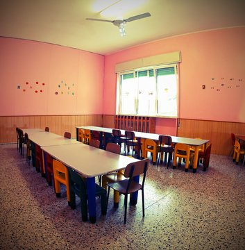 inside a school classroom with vintage old effect